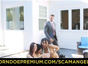 SCAM ANGELS - sizzling Melissa Moore ravaged in mischievous foursome