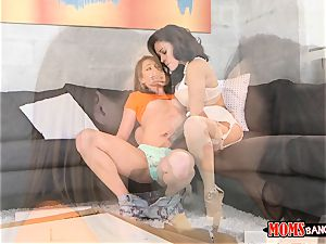 steaming mummy and teenage Kirsten Lee and Jamie Valentine slit tonguing and packed with firm hard-on