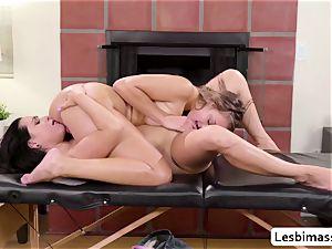 two lezzie Stepsisters Zoey Foxx and Gia Derza loves scissor fucky-fucky