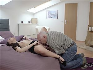 DADDY4K. parent and youthful woman molten hump in sofa culminates with internal ejaculation