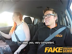 faux Driving college tattooed red-haired covets a immense knob