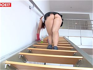 Latina maid agrees to pound fellow for a larger peak