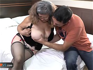 AgedLove chubby mature is pounding on couch