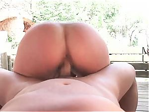molten Latina naughty for a superb knob inwards by the pool