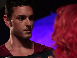 Britney Amber deep-throats off a insane superhero