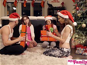 Stepbro's Christmas threesome And sis internal ejaculation S5:E6