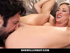 SheWillCheat cheating wife Gags on boner