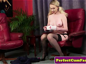 big-chested jizm therapist boob banging for facial cumshot