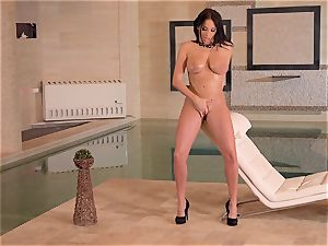 huge-boobed French mummy frigs Her wet cooter