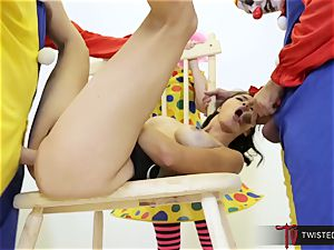 Dana Vespoli torn up by creepy enormous pink cigar clowns